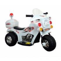 Mini Moto Eletrica Infantil Policia Motoca Criança Segura Resistente Potente Branca - Importway