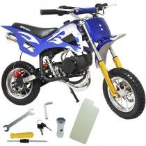 Mini Moto Infantil Gasolina 2 Tempos 49CC Cross Trilha Off Road Importway WVDB-006 Dirt Azul -