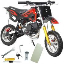 Mini Moto Infantil Gasolina 2 Tempos 49CC Cross Trilha Off Road Importway WVDB-006 Dirt Preta -