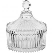 Mini porta jóias homeco vidro transparente ø10cm -