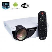 Mini projetor protátil betec - 1600 lumens - tripé - android 4.4.4 pt, wifi, miracast, internet - Betec brasil