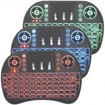 Mini Teclado Mouse Iluminado Led Touchpad Wireless Bluetooth Wifi Sem Fio Tv Smart Box Usb I8 Preto - S/m
