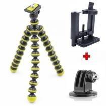 Mini Tripé Flexível GoPro Smartphone - TT813 - 26,5cm Amarelo - Kit produtos
