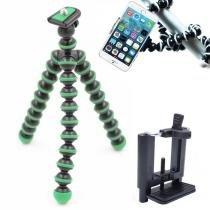 Mini Tripé Flexível Smartphone - TT813 - 26,5cm Verde - Kit produtos
