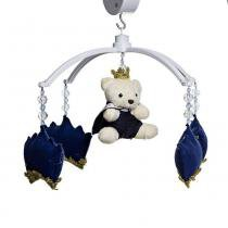 Móbile Musical Corôas Azul Marinho E Ursinho Quarto Bebê Menino - Potinho de Mel