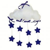 Móbile para Berço Nuvem Estrelas Marinho Feltro Pérolas - Dádiva