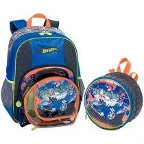 Mochila Infantil Sestini Hot Wheels + Lancheira Hot Wheels