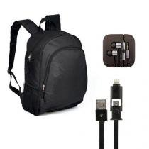Mochila para Notebook 14/15 + Fone de Ouvido Cabo Super Reforçado Compatível+ Cabo USB 2X1 Compatível - Boas