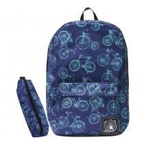 Mochila Polaris + Estojo Escolar Bicicletas Azuis Retrô - Polaris