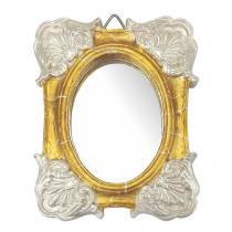 Moldura Colonial Cantoneira e Oval com Espelho Dourado e Branco Craquelê 10x13cm - Resina - Resinas