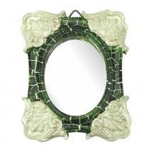 Moldura Colonial Cantoneira e Oval com Espelho Verde e Branco Craquelê 10x13cm - Resina - Resinas