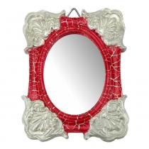 Moldura Colonial Cantoneira e Oval com Espelho Vermelho e Branco Craquelê 10x13cm - Resina - Resinas