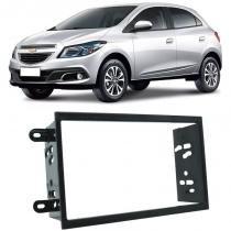Moldura Painel 2 Din Som Dvd Gm Chevrolet Onix 2013 à 2018 Preta - S/m
