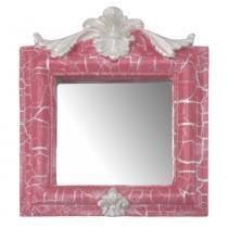Moldura Provençal Retrato Cantoneira com Espelho Rosa e Branco Craquelê 13,5x11cm - Resina - Resinas