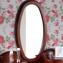 Moldura Taranto Oval com Espelho - Acabamento PU - Madeira Lyptus/ Lâmina de Jequitibá - Castanho - Seiva