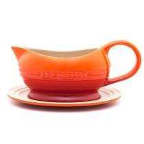 Molheira de cerâmica com pires Le Creuset laranja 470 ml - 102180 -