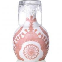 Moringa de cerâmica renda rosa We com copo 1litro - 102238 -