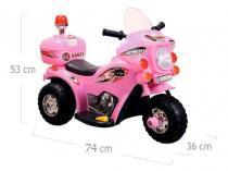 Moto elétrica infantil triciclo elétrico bz cycle rosa com luz de farol e sirene barzi motors - Barzi motors