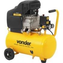 Motocompressor de ar 7,6 pcm 2hp 120 lbf/pol² 24 litros monofásico 220 volts profissional leve mcv076 - Vonder -