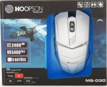 Mouse Game Luz Usb Hoopson Branco 2400 DPI-  MS-030 - Hoopson