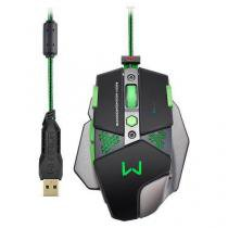 Mouse gamer multilaser warrior 4000dpi + funçao macro leds multimidia com pad mouse mo249 - Multilaser