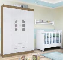 Móveis de Quarto Infantil com Guarda Roupa Ana Clara + Berço Mini Cama 230 - Phoenix Baby - Branco/Amadeirado - Phoenix Baby