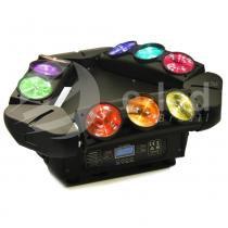 Moving Kaos Spider LED Beam Show 9x12W RGBW com Pan e Tilt de Base Giratória - Bivolt - E-led Brasil