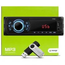 MP3 Player Automotivo Multilaser Mirage P3323M USB SD AUX FM RCA Busca pasta + Pen Drive 4GB Carro -