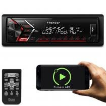 MP3 Player Automotivo Pioneer MVH-S108UI 1 Din USB AUX RCA Mixtrax Lê Smartphone Carrega Celular -