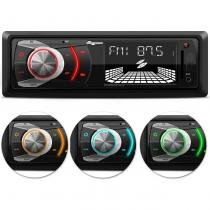 MP3 Player Automotivo Quatro Rodas MTC6608 1 Din 3 Pol Display Alfanumérico USB SD AUX FM RCA -