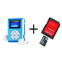MP3 Player com Visor AZUL + Cartao de Memoria 8GB - Importado