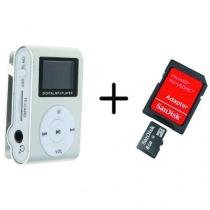 MP3 Player com Visor Cinza + Cartao de Memoria 8GB - Importado