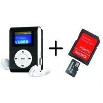 MP3 Player com Visor Preto + Cartao de Memoria 8GB - Ukimix