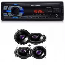 Mp3 Player Positron Sp2210 Usb Sd com Alto Falante Pioneer Kit 5 Ts1360 + 6 Ts1760 200w - Positron / pioneer