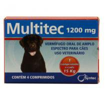 Multitec 1200mg Vermífugo Cães c/ 15kg 4 comp. - Syntec -