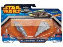 Naves Mon Calamari Cruiser vs Star Destroye - Hot Wheels e Star Wars Mattel 2 Peças