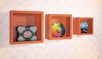 Nicho decorativo quarto bebê larile quadrado laranja-kit com 3 peças -