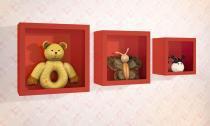 Nicho decorativo quarto bebê larile quadrado vermelho-kit com 3 peças -