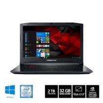 "Notebook Acer Predator Helios 300 PH317-51-70UZ  Core i7 32GB 2TB + SSD 256GB GTX 1060 Win10 17,3"" -"