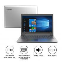 "Notebook Lenovo IdeaPad 330 i7-8550U 8GB 1TB MX150 Windows 10 15.6"" FHD 81FE0000BR Prata -"