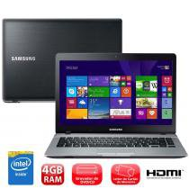Notebook Samsung Ativ Book 3 14 Pol 370E4K-KDA Preto e Prata com Intel Dual Core 4GB 500GB Gravador de DVD HDMI Windows 8.1 -