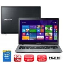 Notebook Samsung Ativ Book 3 14 Pol 370E4K-KDA Preto e Prata com Intel Dual Core 4GB 500GB Gravador de DVD HDMI Windows 8.1 - Samsung