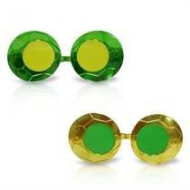 Óculos Bola Futebol Metalizado Verde e Amarelo com Lente 12 unidades - Festabox