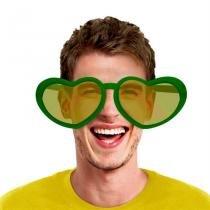Óculos Coração Gigante Plástico com Lente Verde e Amarelo Modelos Variados Brasil FestaBox -