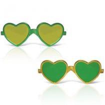 Óculos Coração Metalizado Verde e Amarelo 12 unidades Brasil - Festabox