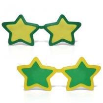 Óculos Estrela Gigante Plástico com Lente Verde e Amarelo 12 unidades Brasil - Festabox