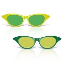 Óculos Gatinha Gigante Plástico com Lente Verde e Amarelo 12 unidades Brasil - Festabox