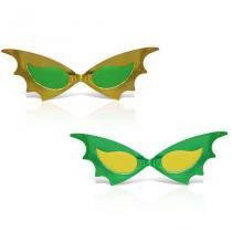 Óculos Gatinha Metalizada Verde e Amarelo 12 unidades Brasil - Festabox