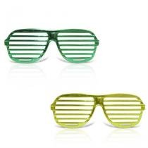 Óculos Persiana Metalizado Verde e Amarelo com Lente 12 unidades - Festabox