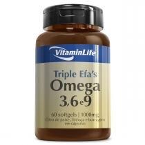 Óleo de Peixe, Linhaça e Borragem TRIPLE EFAS ÔMEGA 3,6 e 9 1000mg - VitaminLife - 60 Softgels - VitaminLife